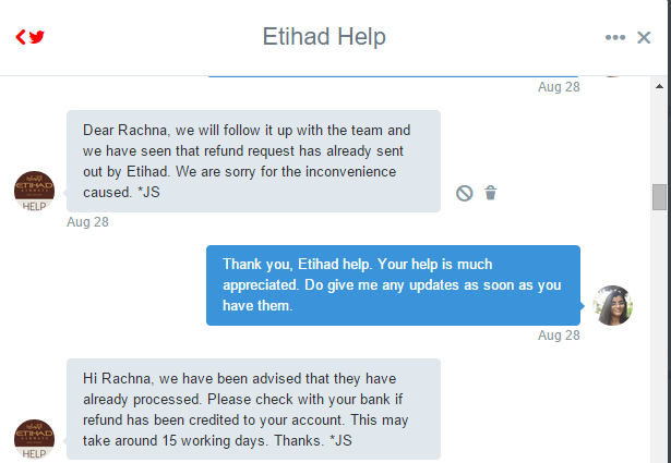 Etihad customer service